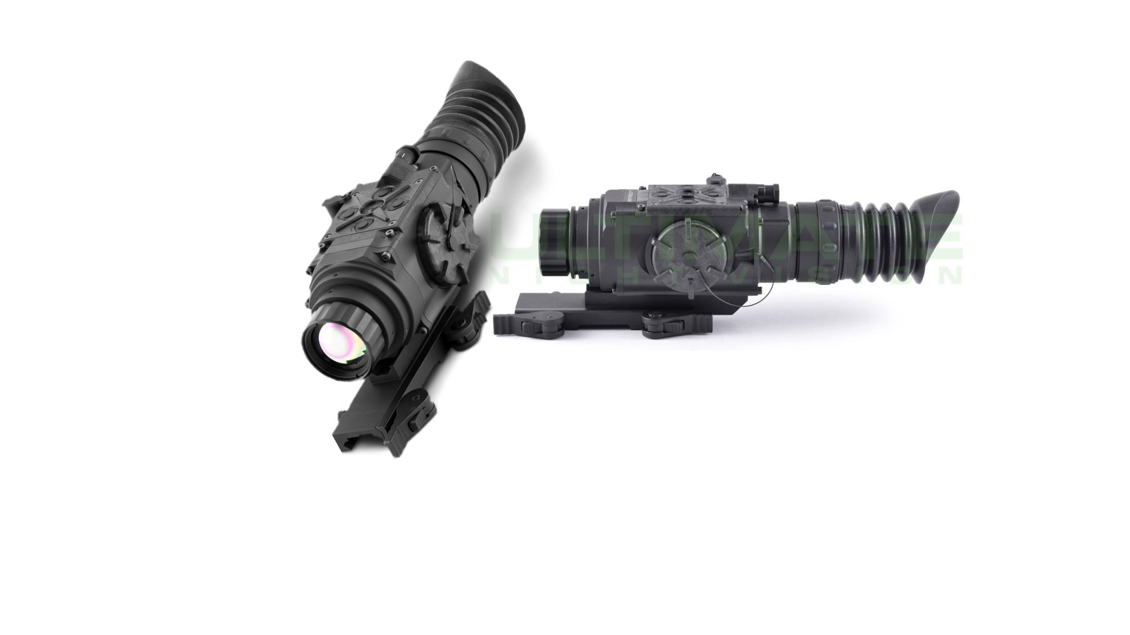 the side and front look of two black Armasight by FLIR Predator 640 thermal scopes for coyote hunting