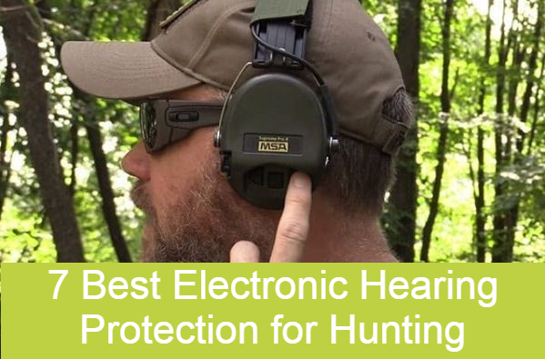 a hunter wearing an electronic hearing protection muff when hunting