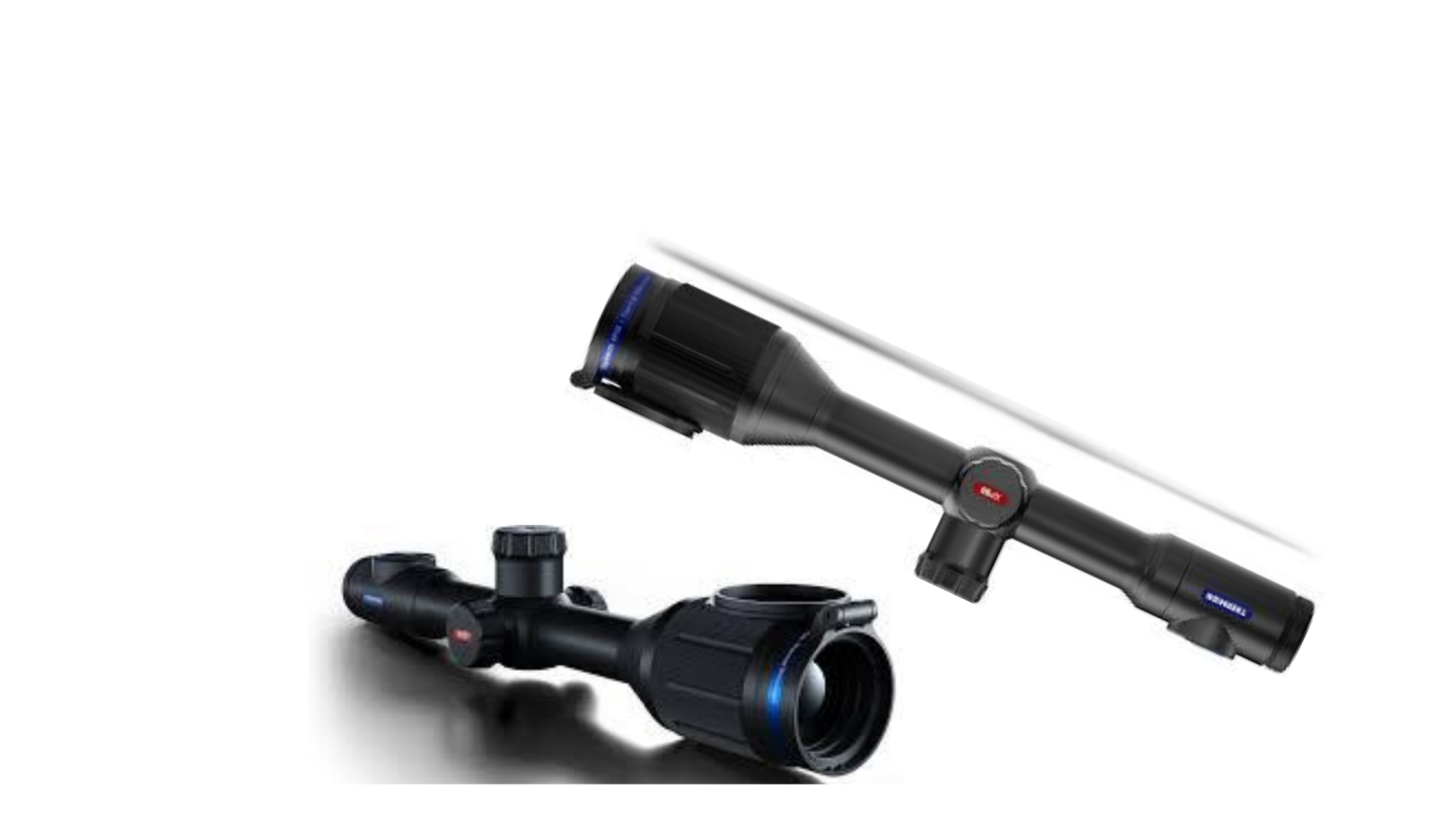 A side-by-side pair of black Pulsar ThermionXP50 thermal scope for coyote hunting
