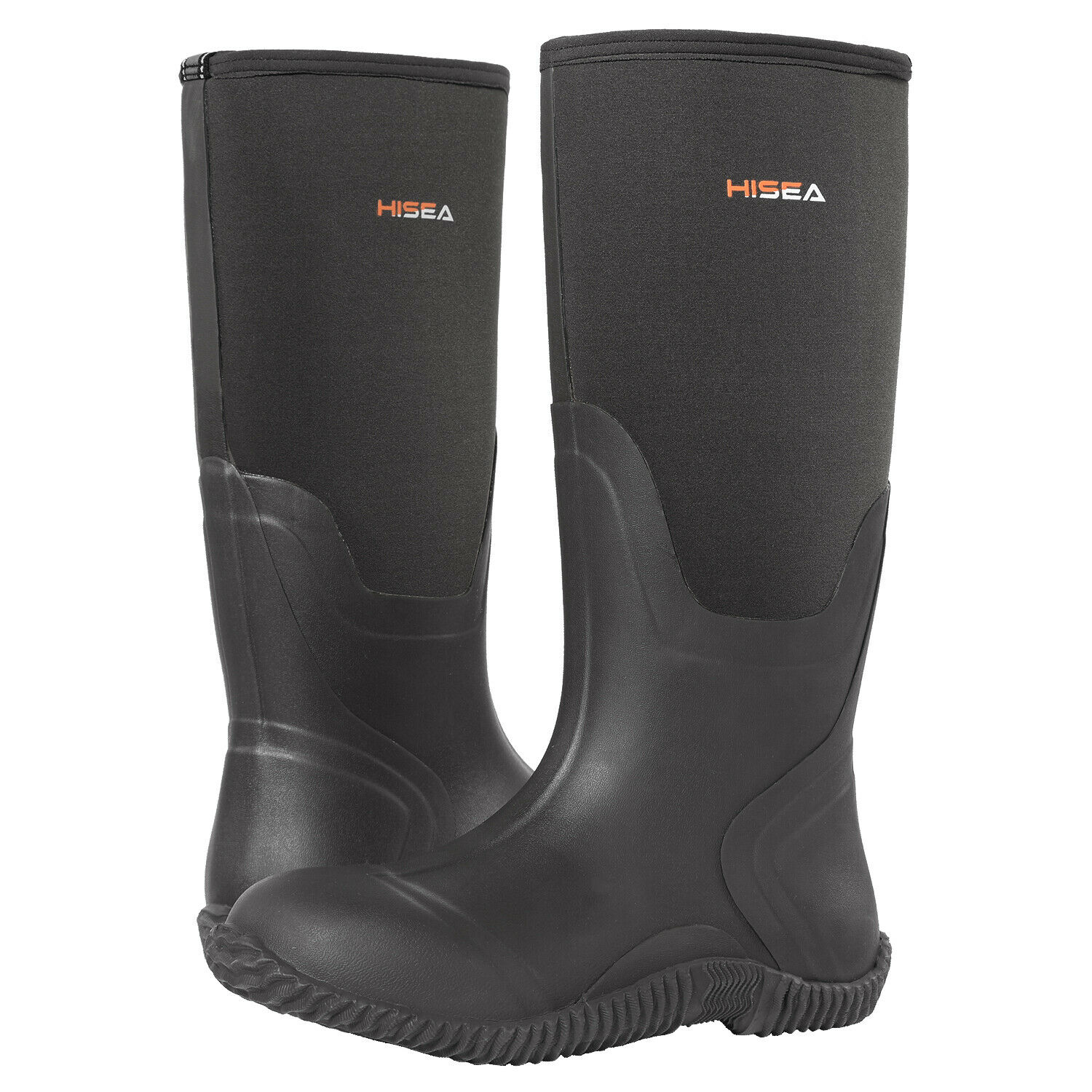 a pair of black HISEA Outdoor Muck Boots for winter hunting boot