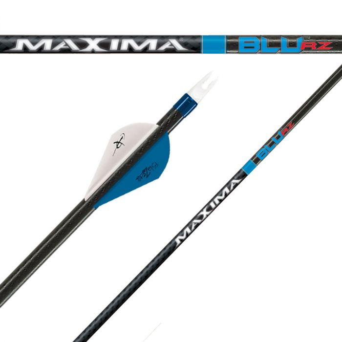 blue-colored 3 pieces of Carbon Express Maxima BLU RZ