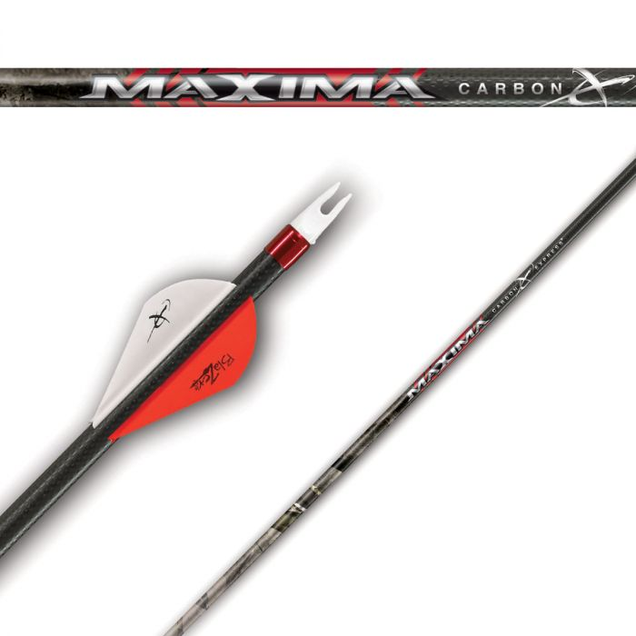 three red pieces of Carbon Express Maxima Hunter