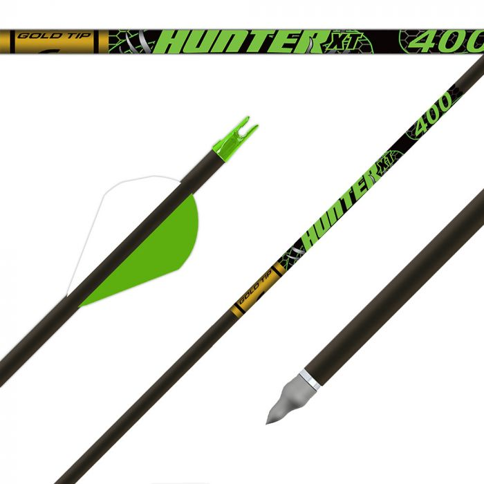 4 black pieces of Gold Tip Hunter XT arrows
