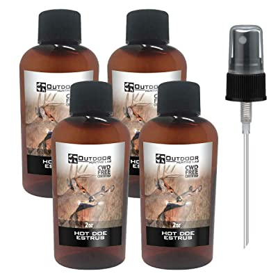 4 bottles and a dropper tube of Hot Doe Estrus Deer Urine – 4 oz Aerosol Spray Can – Hunter Approved Buck Attractant