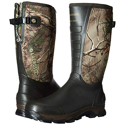 a pair of Realtree Xtra Green Lacrosse Men's 4x Alpha Snake Boot- M