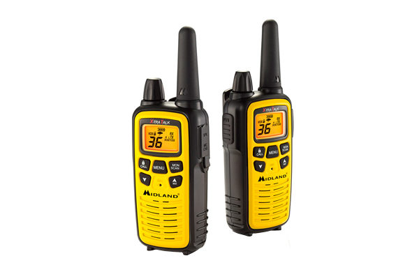 a yellow pair of Midland LXT630VP3 36 Channel FRS