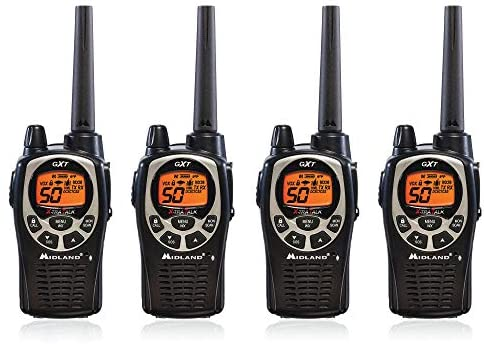 4 black pieces of Midland GXT1000VP4 Two Way Radio