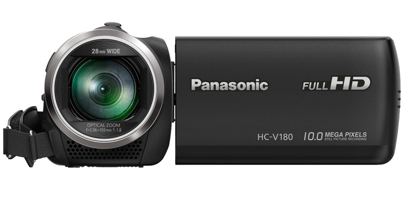 a black Panasonic HC-V 180 handheld camcorder for deer hunting