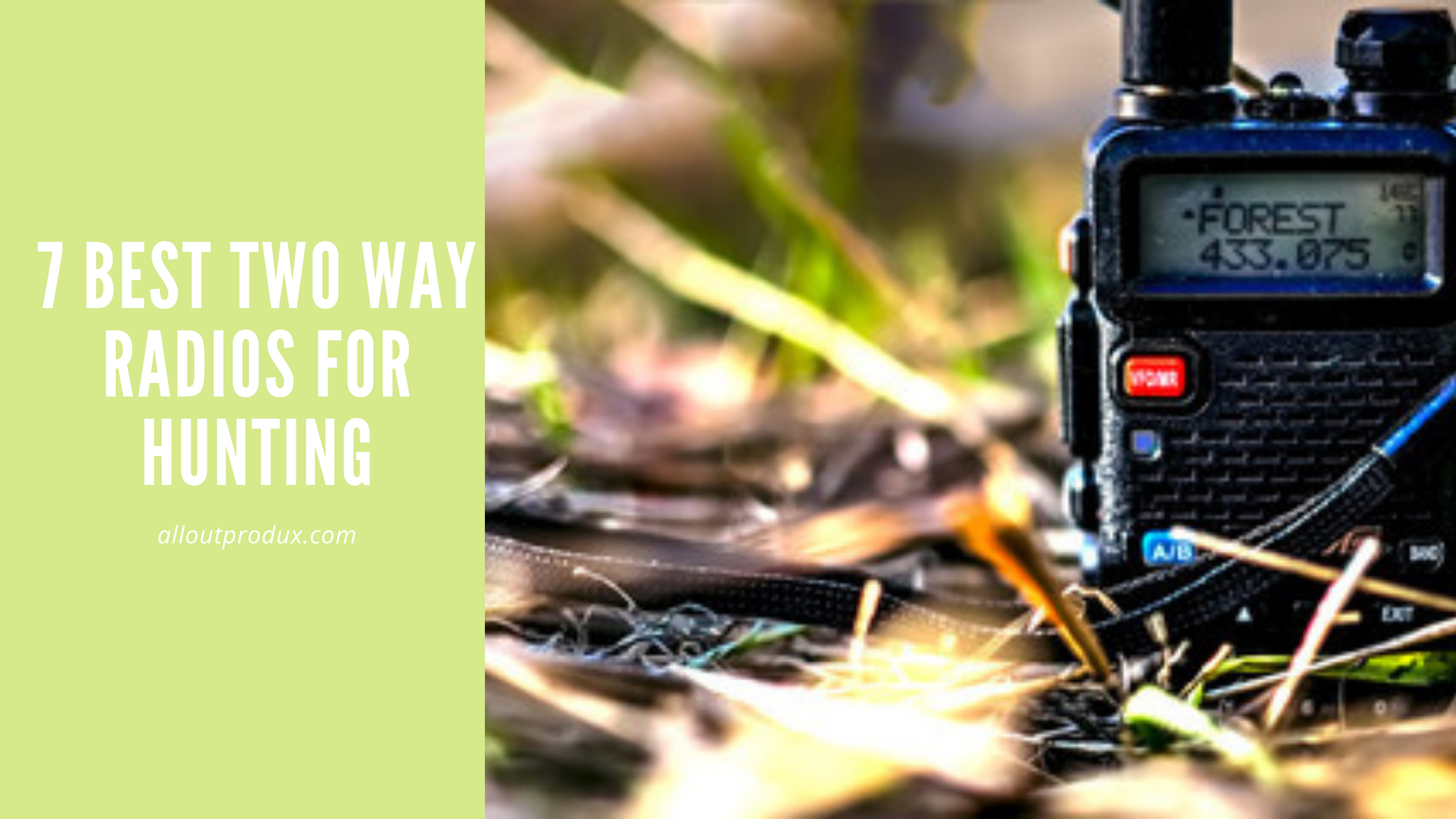 a two way radio on the ground of a hunting forest