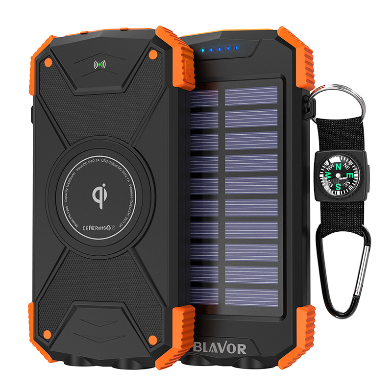 Orange Solar Power Bank, Qi Portable Charger