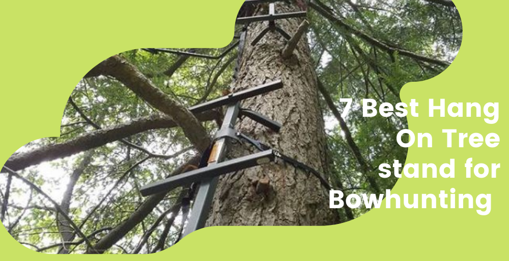 a combination of a hang on tree stand and climbing ladder for bowhunting